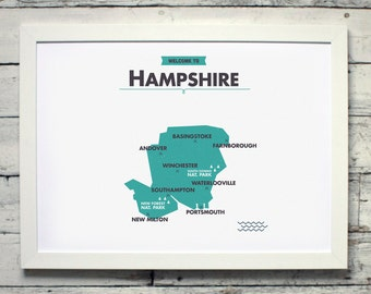 Hampshire County Map | # poster, vintage, retro, print