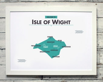 Isle of Wight County Map | # print, poster, vintage, england