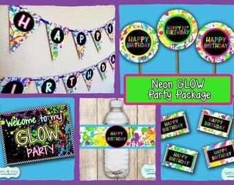 Neon GLOW in the Dark Party Package / Blacklight Birthday Party / Glow Party / Neon Birthday - FILE to PRINT