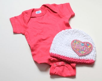 Monogram Clothing for Newborns, Babies, Toddlers, Hot Pink Onepiece, Striped Hat, Hand Crochet, 100% Cotton, Newborn Gift Set, Kids Clothes,