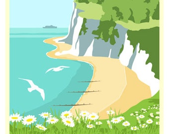 ST MARGARET'S BAY.  Poster of St Margaret's Bay near Dover A4, A3, A2 in Retro, Art Deco style design