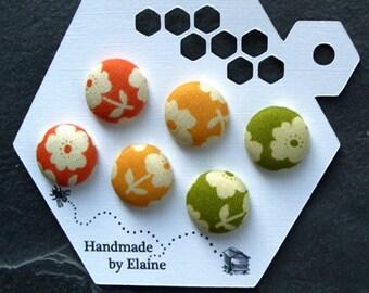 Fabric Covered Buttons - 6 x 18mm buttons, handmade button, orange yellow green buttons, flower buttons, floral buttons, traffic lights 0764