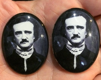 Glass Edgar Allen Poe Cameos Goth Gothic Antique Vintage Raven Nevermore 40x30mm 30x22mm 25x18mm 18x13mm