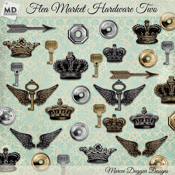 Gold and Silver Metal Hardware Crowns Keys and Wings