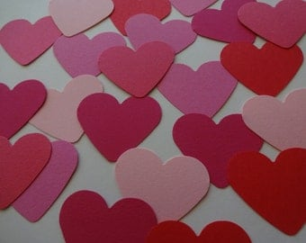 10 red paper hearts die cut 3.65 cm punch cutout scrapbook paper embellishments Valentines Day paper hearts wedding confetti