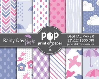 Bird digital paper RAINY DAYS Purple rain digital paper, umbrella, purple and pink colors, girl birthday theme, modern digital paper