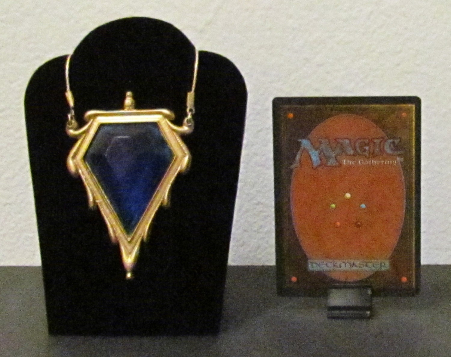 mtg magic the gathering mox sapphire pendant necklace. Black Bedroom Furniture Sets. Home Design Ideas