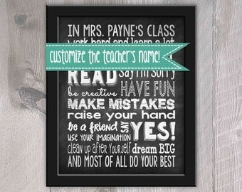 Personalized Classroom Rules Subway Art - Chalkboard - Instant Download - Printable - Teacher Gift - Classroom Poster
