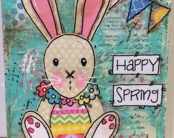 Spring Bunny Painting | Easter Bunny | Mixed Media Sign
