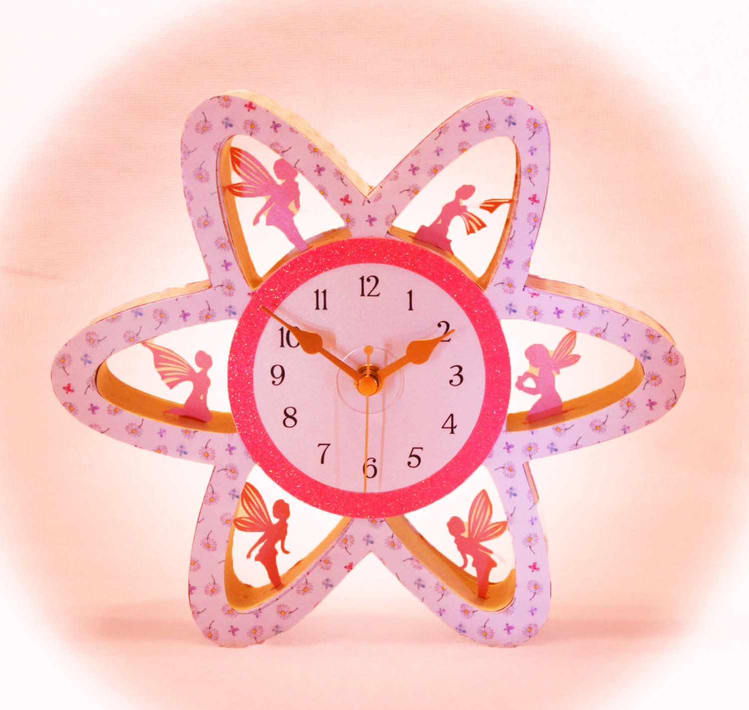 3d Svg Flower Clock With Fairies Digital Download