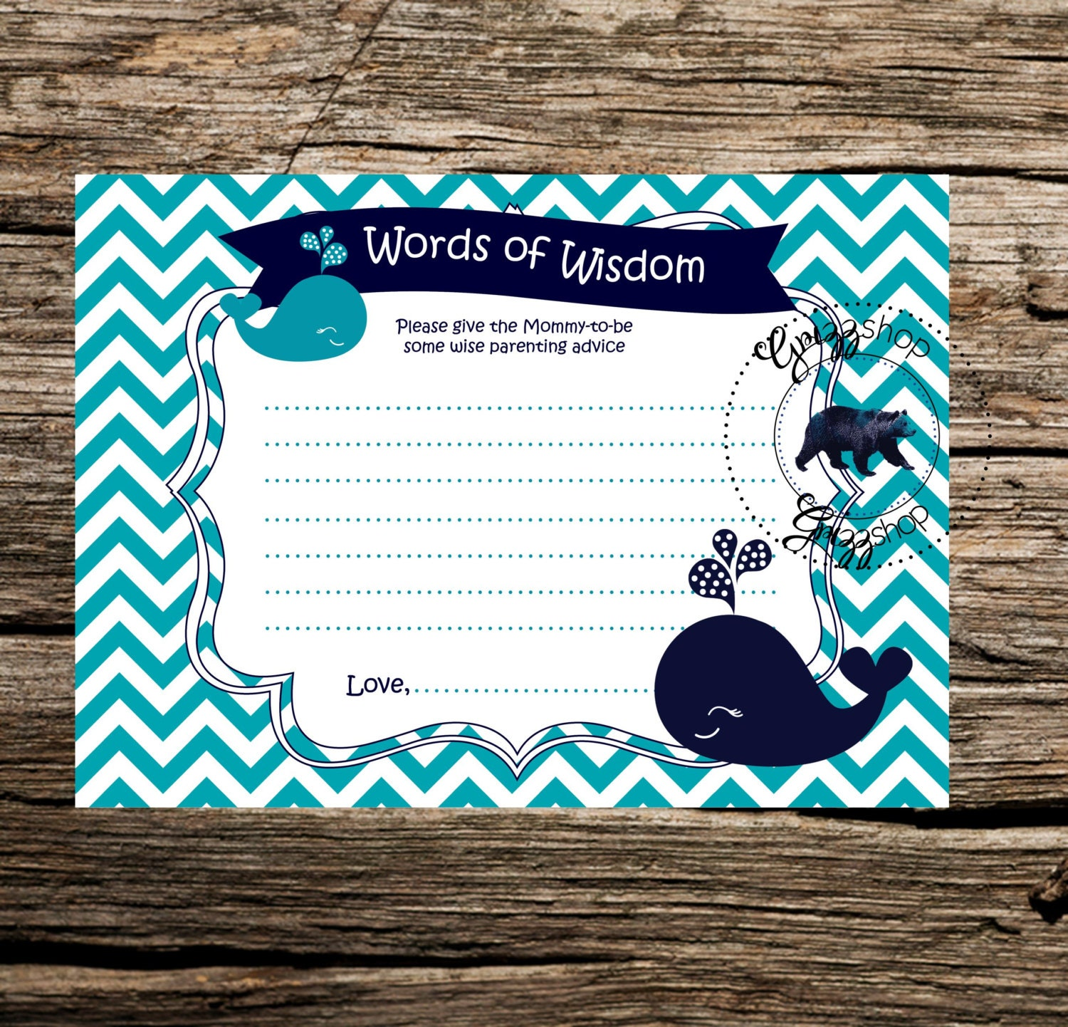 blue whale words of wisdom baby shower game