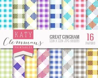 GREAT GINGHAM digital paper pack. 16 modern bright gingham patterns. Scrapbook printable sheets - instant download.