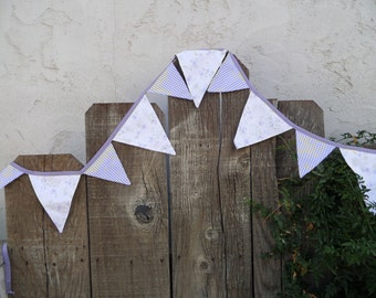 7+ foot long Shabby Chic Floral Lavender Banner/Bunting OOAK