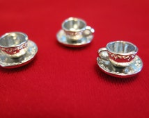 "5pc ""tea cup"" charms in antique silver style (BC493)"
