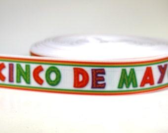 """5 yards of 7/8 inch """"Cinco de mayo"""" grosgrain ribbon"""