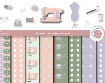 Sewing Clipart and Scrabooking Paper Set, Digital Clip Art, Scrapbook Kit, Scrapbooking, Crafts, Sewing Machine, Thread, Printable, Retro,