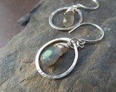 Sterling silver and labradorite gemstone teardrop earrings - Faceted beads, blue, gray, grey, flashy stones (JK351)
