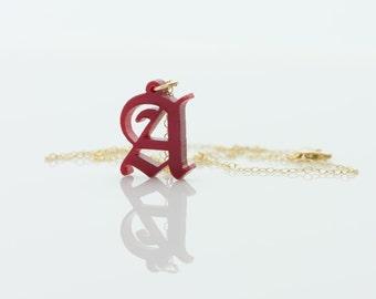 HandCrafted Acrylic 1 Initials Monogram Necklace - 1.25 inch Vine Personalized Monogram Custom Lasercut