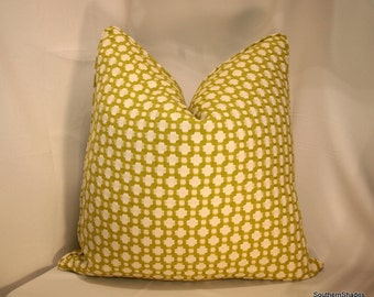 Both Sides - Schumacher Betwixt Chartreuse Ivory Pillow Cover Self Cording