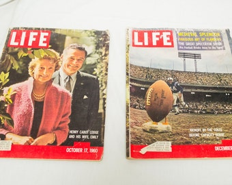 Lot of 2 1960 Life Magazine Football Kickoff Colts and Henry Cabot Family US Highways