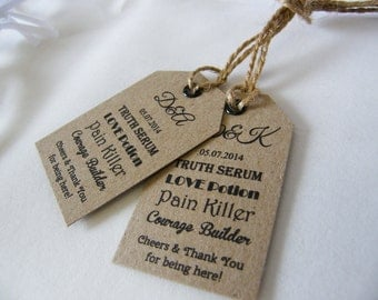 Personalised Wedding Drink Minature Bottle Favour Tags Vintage Luggage Label Truth Serum