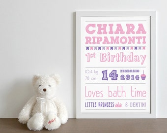 Graphic print first birthday or other celebration, girl/boy
