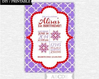 Red and Purple Girl Birthday Invitation 5x7 DIY Printable (PDFL004)