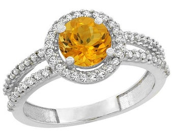 10K White Gold Natural Citrine Diamond Halo Ring Round 6mm, Sizes 4 - 10