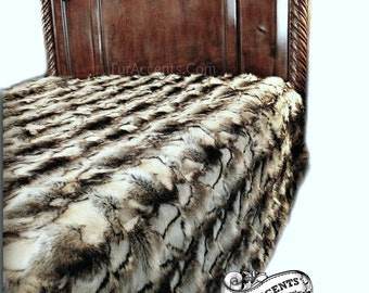 Faux Fur Bedspread - Throw Blanket - Comforter - Black, Gray and White Exotic Rabbit - Minky Cuddle Fur Lining - Fur Accents USA