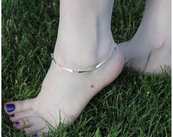 Forged Paddle Anklet in Sterling SIlver