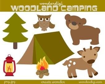 Camping Clipart - Woodland clip art - Deer, Bear Woodland Animal Clip Art - INSTANT DOWNLOAD