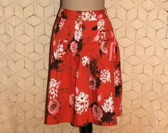 Cotton Skirt Orange Floral Skirt Casual Skirt Midi Skirt Full Skirt Drop Pleats Floral Print Skirt Women Skirts Medium Womens Clothing