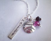 Sporty Girl Softball/Baseball Personalized  Hand Stamped Name Necklace