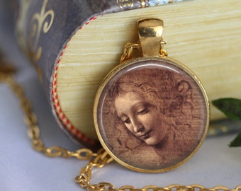 Leonardo Da Vinci Pendant Necklace Classic Art - The Head of a Woman - masterpiece Art Handmade Pendant Jewerly (207)