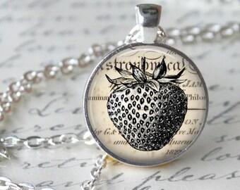 STRAWBERRY Glass Pendant Necklace Vintage Fruit Art Image Strawberry Handmade Glass Pendant Jewerly