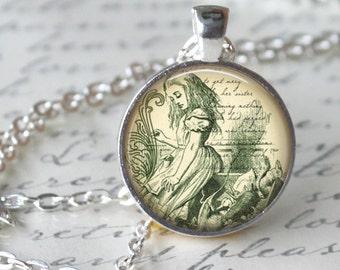 ALICE IN WONDERLAND Pendant Necklace Book Necklace Literary Handmade Pendant Literary Jewelry Book Art Necklace