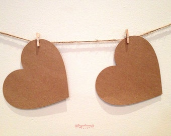 Heart Kraft Brown Love Heart Bunting Garland