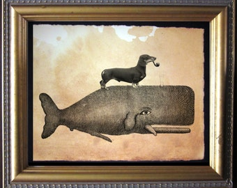 Black Dachshund Wiener Dog Riding Whale - Vintage Collage Art Print on Tea Stained Paper - Vintage Art Print - Vintage Paper