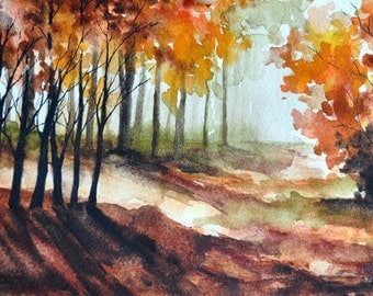 ORIGINAL Landscape Watercolor Painting, Autumn Forest, Red Maple Trees, Fall Decor 5x7 inch