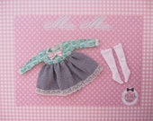 Dress long sleeves with full skirt and ribbon with socks outfit for blythe doll
