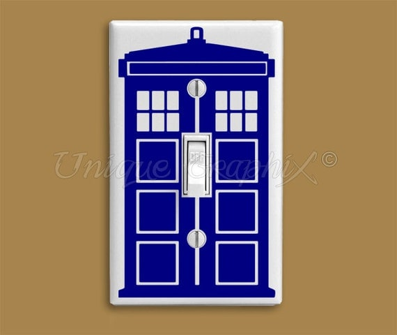 Dr who inspired tardis vinyl light switch decal for Tardis light switch cover