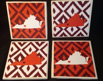 Set of 4 Ikat-Style Virginia Tech Hokies Coasters
