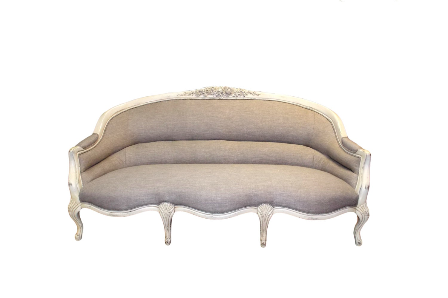 Vintage French Provincial Cabriole Sofa W By