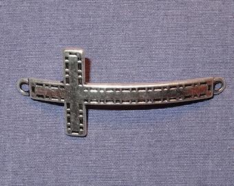 Tibetan Silver Curved Bracelet Cross