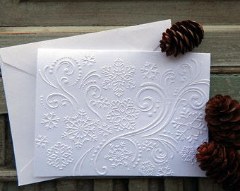 Snowflake Note Card, Christmas/Holiday Thank You Card, Blank Thank You Card, Blank Christmas Card, Embossed Snowflakes, Set of 5
