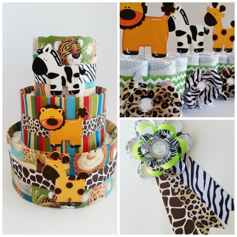 Safari baby shower decor jungle themed diaper cake safari for Baby shower safari decoration