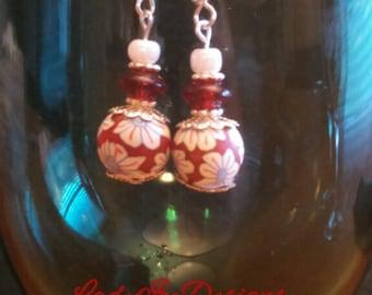 red japanese bead earrings