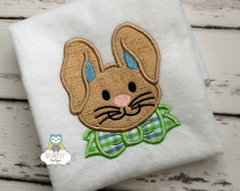 Bunny with Bow Tie Easter Shirt or Bodysuit, Boy Easter Shirt, Boy Easter Bunny Shirt, Boy Egg Hunt Shirt, Boy Easter Bunny, Easter Bunny