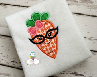 Girl Carrot with Glasses Easter Shirt or Bodysuit, Girl Easter Shirt, Girl Easter Carrot Shirt, Girl Easter Egg Hunt Shirt, Girl Carrot