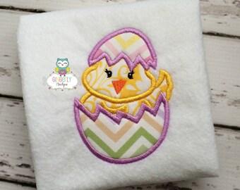 Chick in Egg Shirt or Bodysuit, Girl Easter Shirt, Easter Egg Hunt Shirt, Girl Chicken Shirt, Girly Chicken Shirt, Easter Shirt for Girl